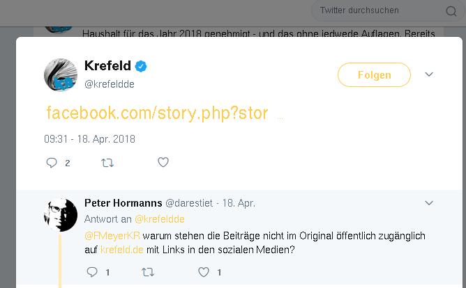 Facebook-Link der Stadt Krefeld auf Twitter